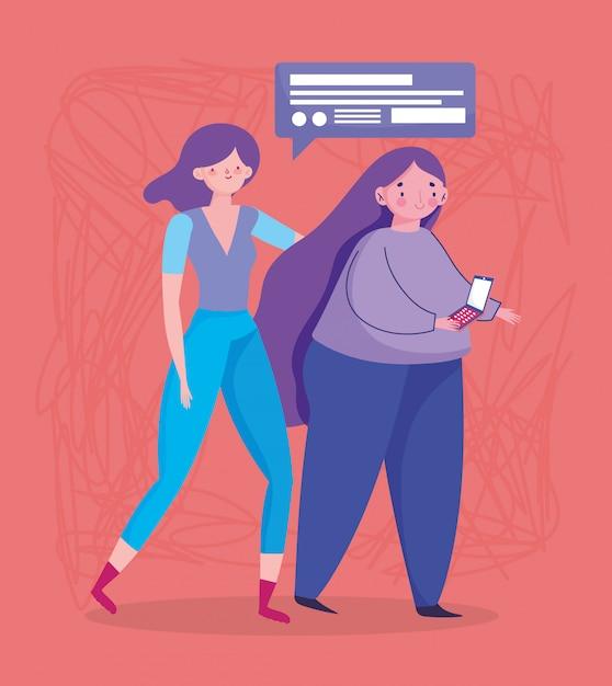 人とスマートフォン、モバイルデバイスのデジタル漫画を使用して歩いている女性 Premiumベクター