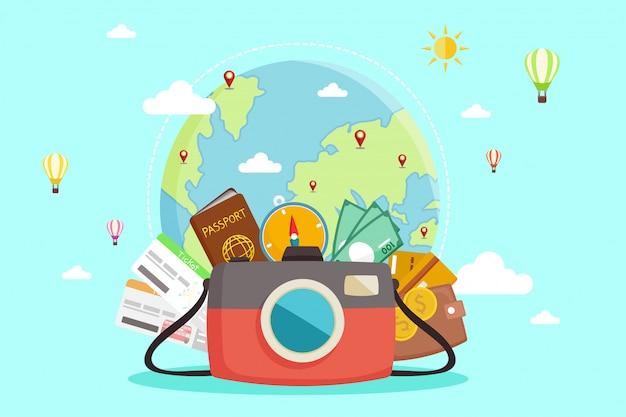 Туристический комплекс путешествие по миру. Premium векторы