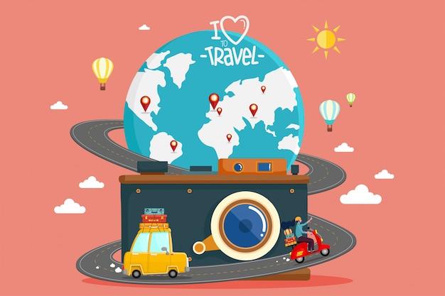 車で旅行します。世界旅行。夏休みを計画しています。観光と休暇のテーマ。 Premiumベクター