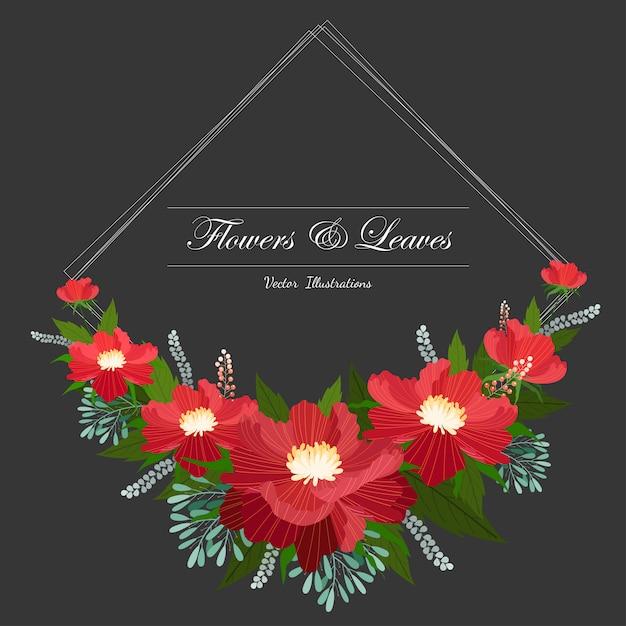 Красивая цветочная рамка Premium векторы