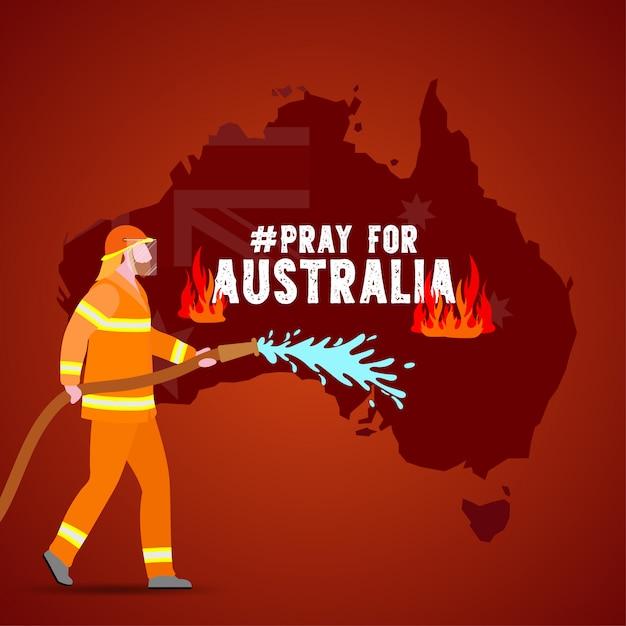 Проблемы лесного пожара в австралии иллюстрации Premium векторы