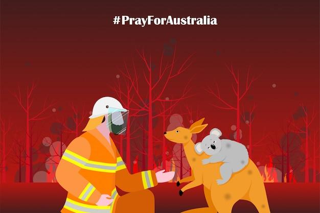オーストラリアの図の森林火災の問題 Premiumベクター