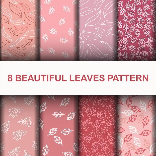 美しい葉のパターンを設定します Premiumベクター