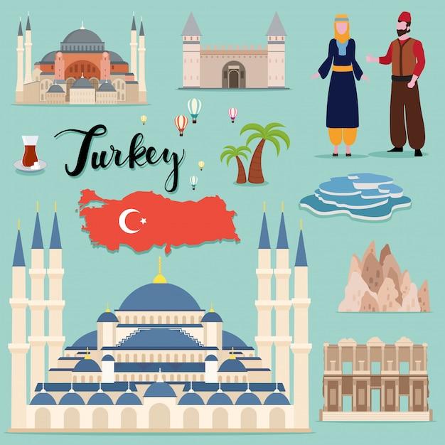 Туристическая коллекция турция путешествия турция Premium векторы