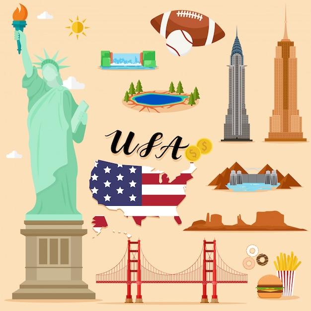 Туристический объединенный штат америки сша коллекция туристических наборов Premium векторы