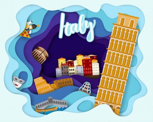 イタリア旅行観光の紙カットデザイン Premiumベクター