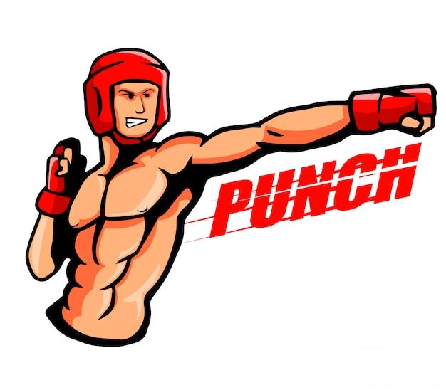 ボクサーのイラストはパンチを投げる。 Premiumベクター