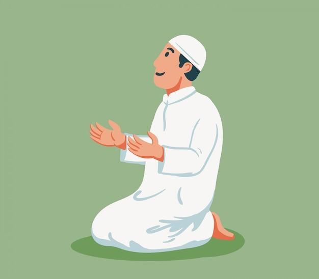 イスラム教徒の男性の平らな文字が座って祈る。 Premiumベクター