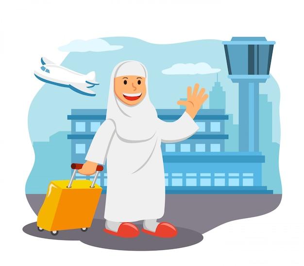 空港で女性たちはメッカへの巡礼旅行の準備ができています。 Premiumベクター