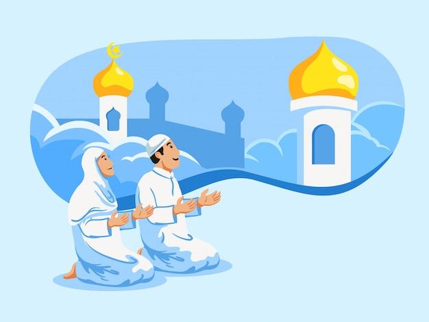 カップルのイスラム教徒の祈りとモスクのドームの背景。 Premiumベクター