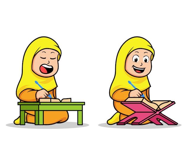 Девочка исламская школа дети чтение священного корана Premium векторы