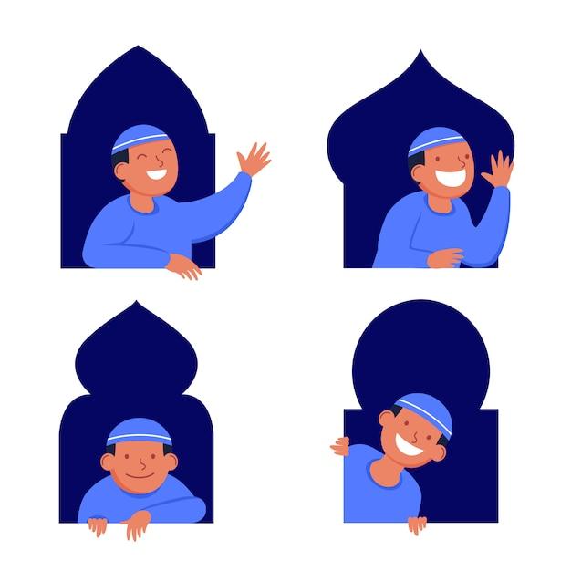 ウィンドウで覗く少年イスラム教徒フラット文字 Premiumベクター