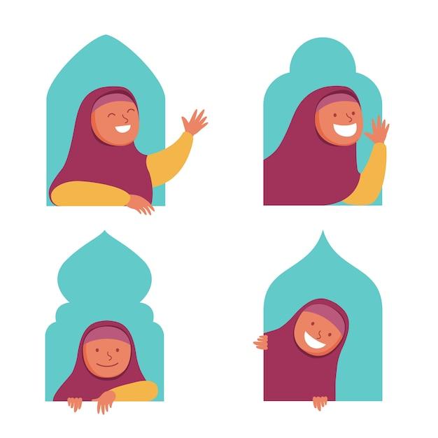 ウィンドウで覗く少女イスラム教徒フラット文字 Premiumベクター