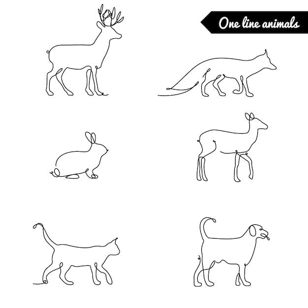 Одна линия набор животных, логотипы складе иллюстрации с оленями, лиса кролик и другие Premium векторы