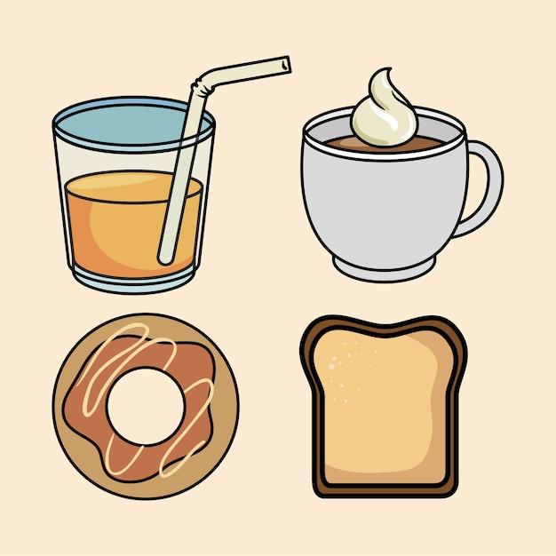 朝食のドーナツパンジュースとコーヒーをセット Premiumベクター