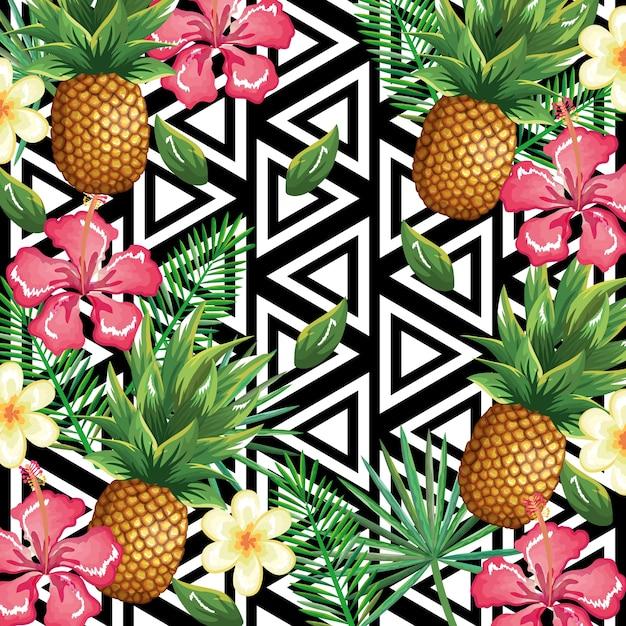 熱帯の花とパイナップル、抽象的な背景 Premiumベクター