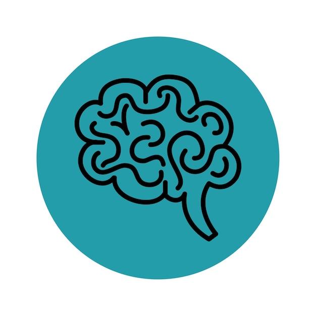 青と白の背景に手描きの脳アイコン。ベクトル図 Premiumベクター