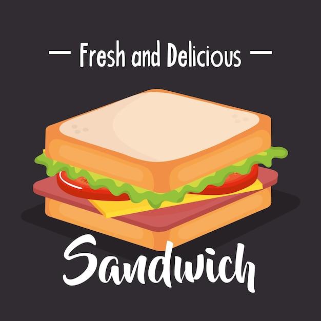 おいしいサンドイッチファーストフードベクトルイラストデザイン Premiumベクター