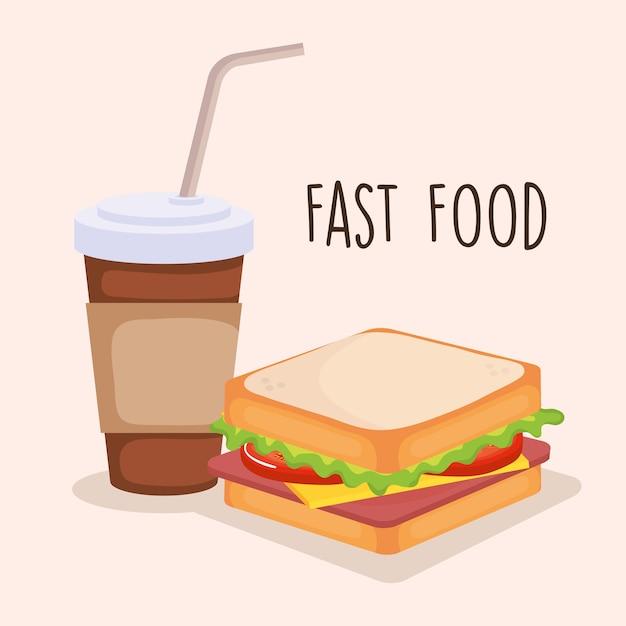 コーヒーベクトルイラストデザインとおいしいサンドイッチ Premiumベクター