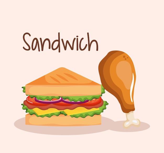 鶏のドラムスティックファーストフードと美味しいサンドイッチ Premiumベクター