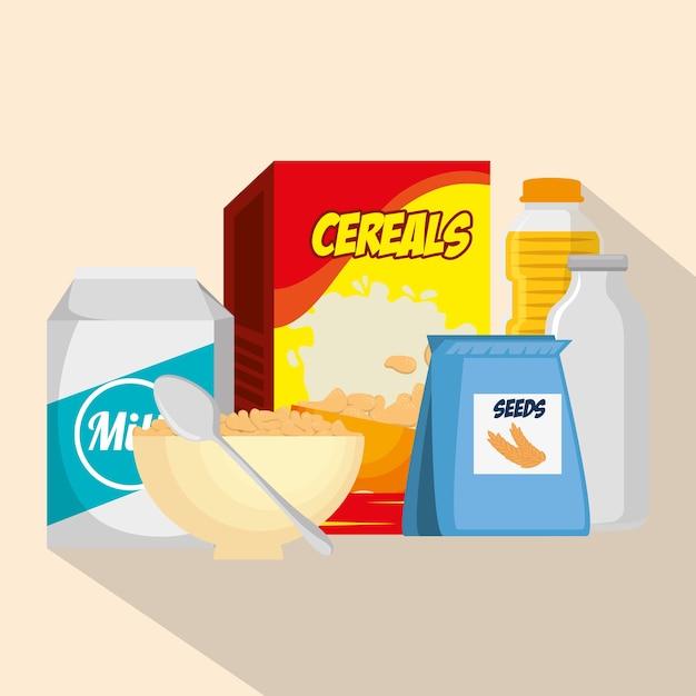 栄養食品アイコンのベクトルイラストデザインのグループ Premiumベクター
