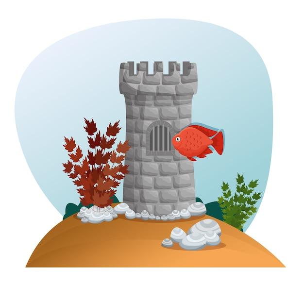美しい水族館のシーンのアイコン Premiumベクター