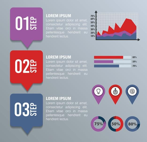 ビジネスインフォグラフィックテンプレートアイコン Premiumベクター