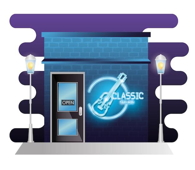 ネオンレーベルの古典音楽建物のファサード Premiumベクター