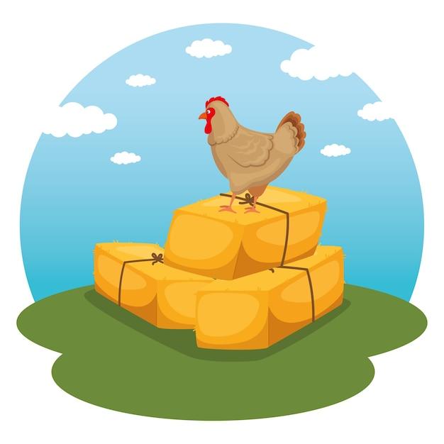 農業と農業の乾草の俵アイコン Premiumベクター