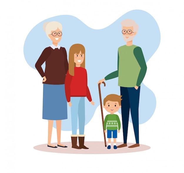 Семейные родители с одеждой декабря Premium векторы