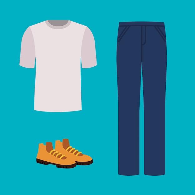 パンツとブーツのシャツ Premiumベクター