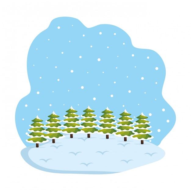 昼間の雪景色の場面 Premiumベクター