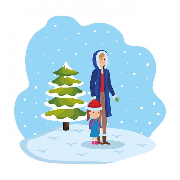 冬の服を着た母と娘、雪景色 Premiumベクター