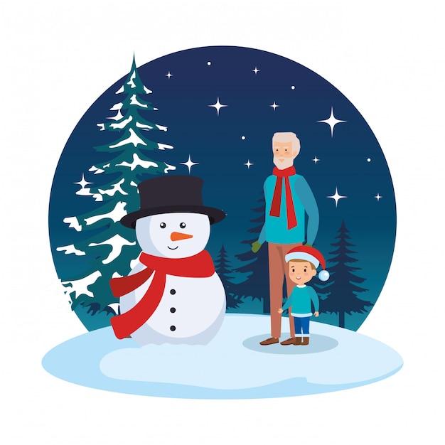 Дед и внук в снегу Premium векторы