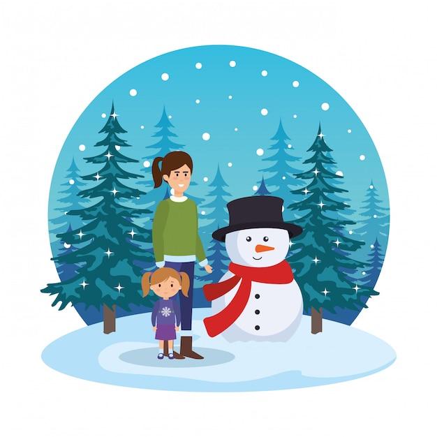 雪景色の雪景色の母と娘 Premiumベクター