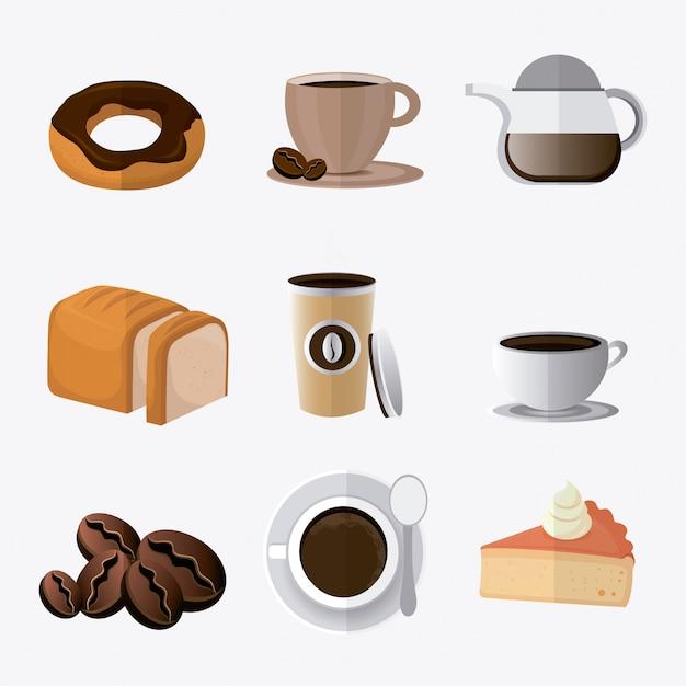 Дизайн кофе. Premium векторы
