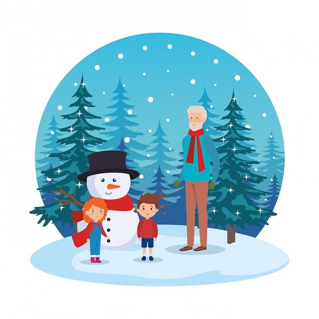 Дед и дети в снегу Premium векторы