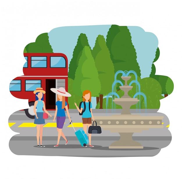 ロンドンの通りにスーツケースを持つ観光客の女の子 Premiumベクター