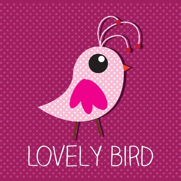 ピンクの背景ベクトル図と素敵な鳥 Premiumベクター