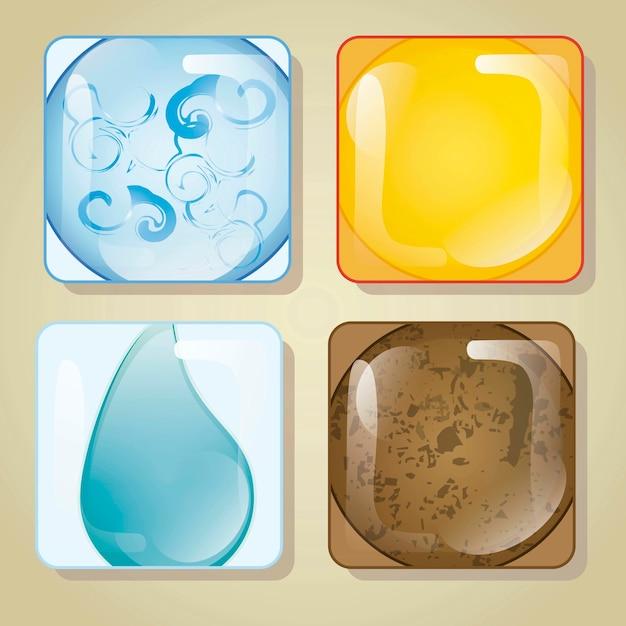 Четыре элемента в стеклянной квадратной векторной иллюстрации Premium векторы