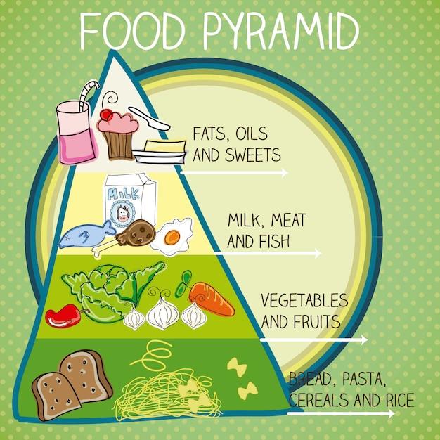 Пищевая пирамида красочные векторная иллюстрация с текстом Premium векторы