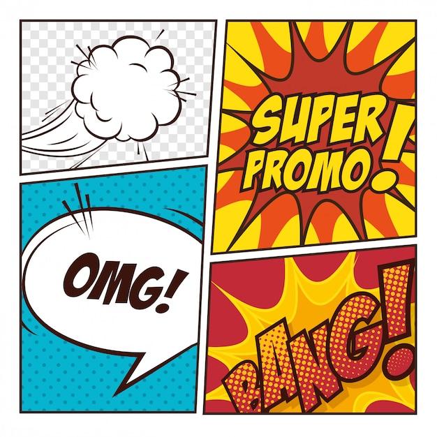 ポップアートコミックバブルデザイン Premiumベクター