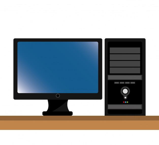 コンピュータのデスクトップの隔離されたアイコンのデザイン Premiumベクター
