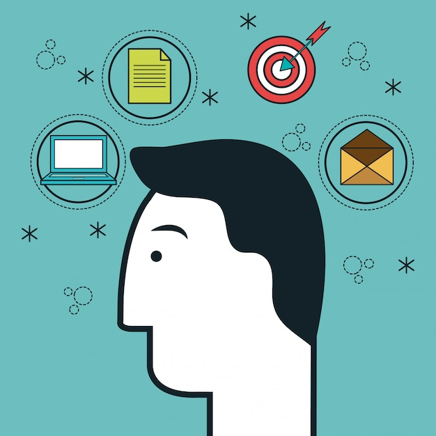頭の人間のプロファイルの思考のアイコン Premiumベクター
