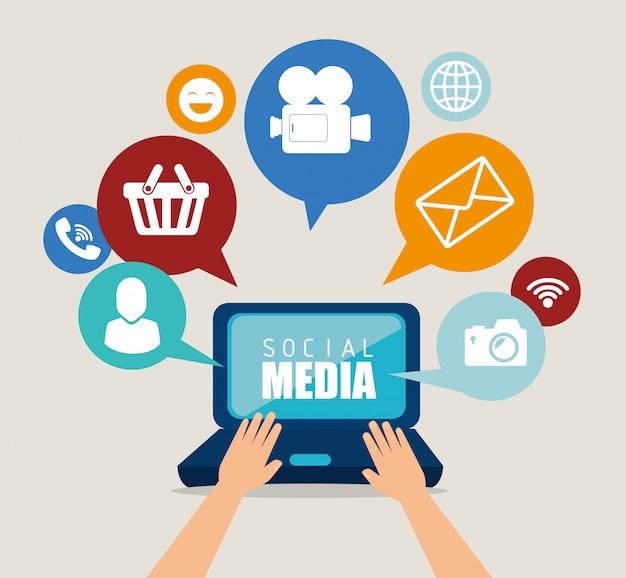 マルチメディアのアイコンとソーシャルメディアデザイン Premiumベクター
