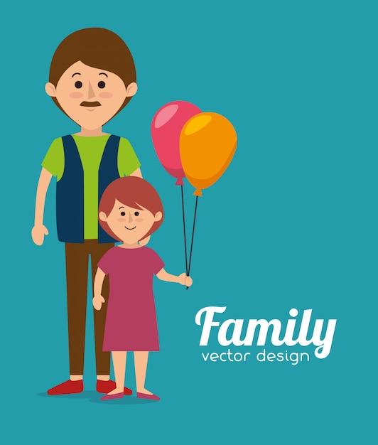 Семейный красочный мультфильм Premium векторы