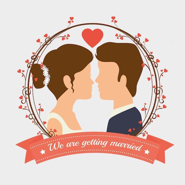 結婚式の招待状のデザイン Premiumベクター