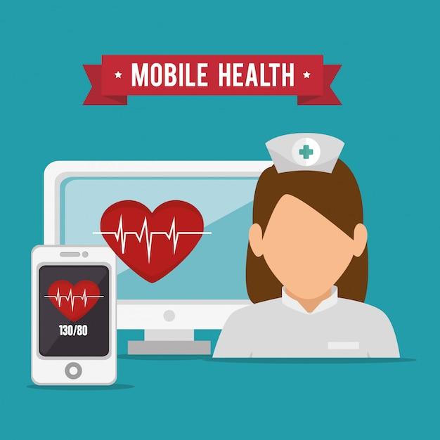 モバイルヘルスデザイン Premiumベクター