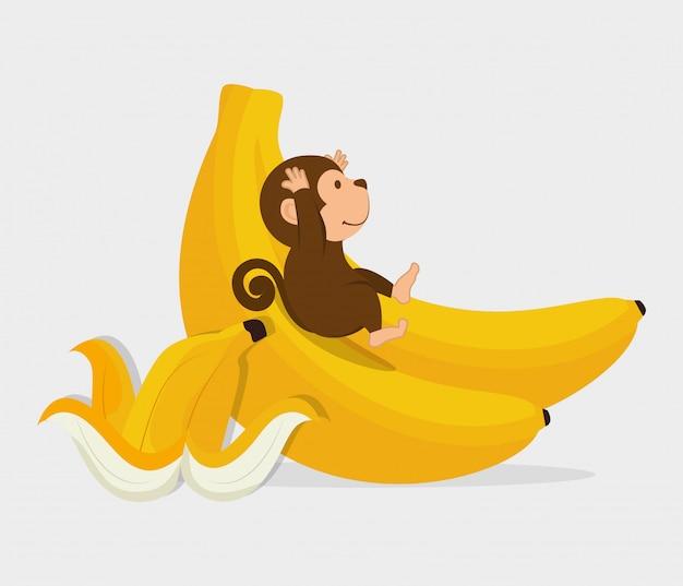 面白い猿のデザイン Premiumベクター