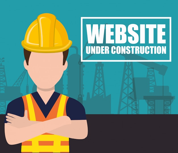 建設設計の下のウェブサイト Premiumベクター